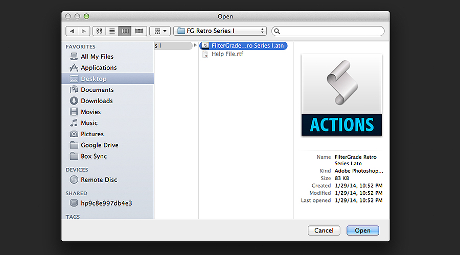 Opening Photoshop Actions