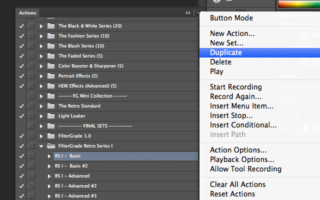 How to duplicate Photoshop actions