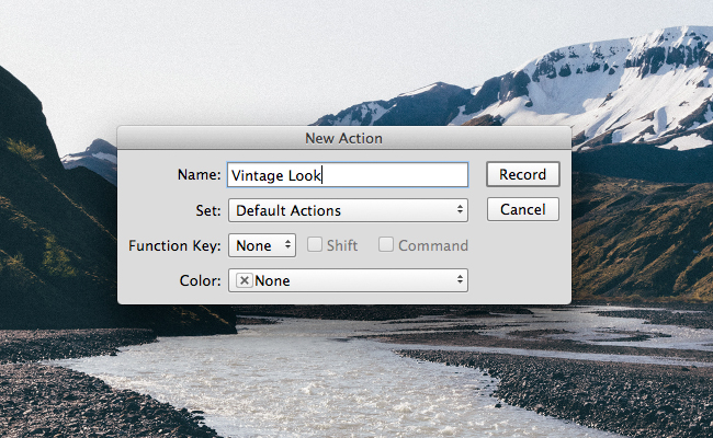 record new Photoshop action