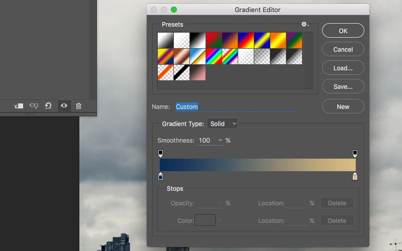 Gradient Map Selection in Photoshop