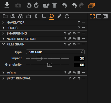 soft film grain settings for capture one pro