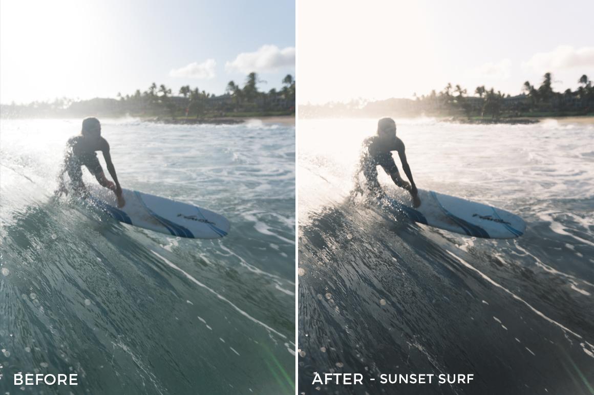 6 Sunset Surf - Beachy Vibes Lightroom Presets - Kilikai Ahuna - FilterGrade Digital Marketplace