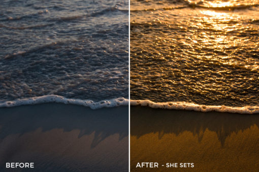 7 - She Sets - Osse Greca Sinare Sand & Waves Lightroom Presets - FilterGrade Digital Marketplace