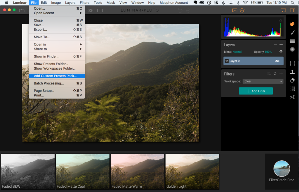add custom presets pack luminar