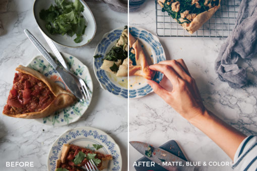 8 Matte, Blue & Color - Black.White.Vivid Food & Still Life Lightroom Presets - Kati - FilterGrade Digital Marketplace