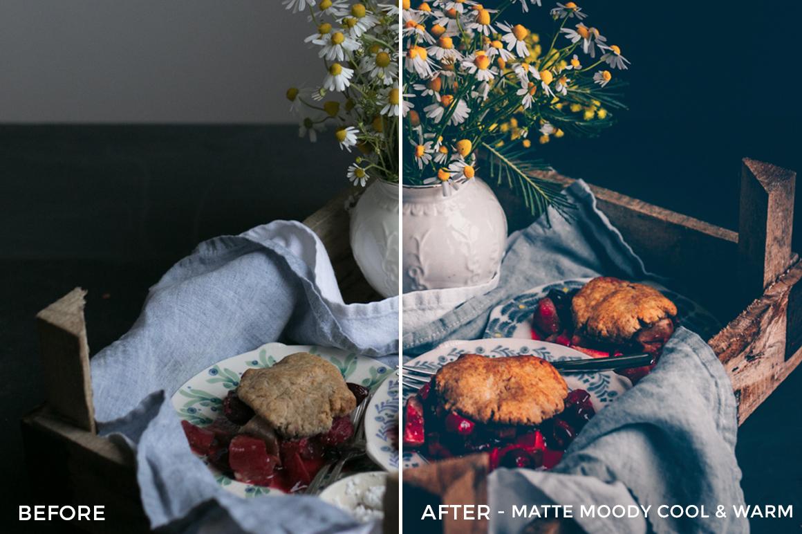 4 Matte Moody Cool & Warm - Black.White.Vivid Food & Still Life Lightroom Presets - Kati - FilterGrade Digital Marketplace