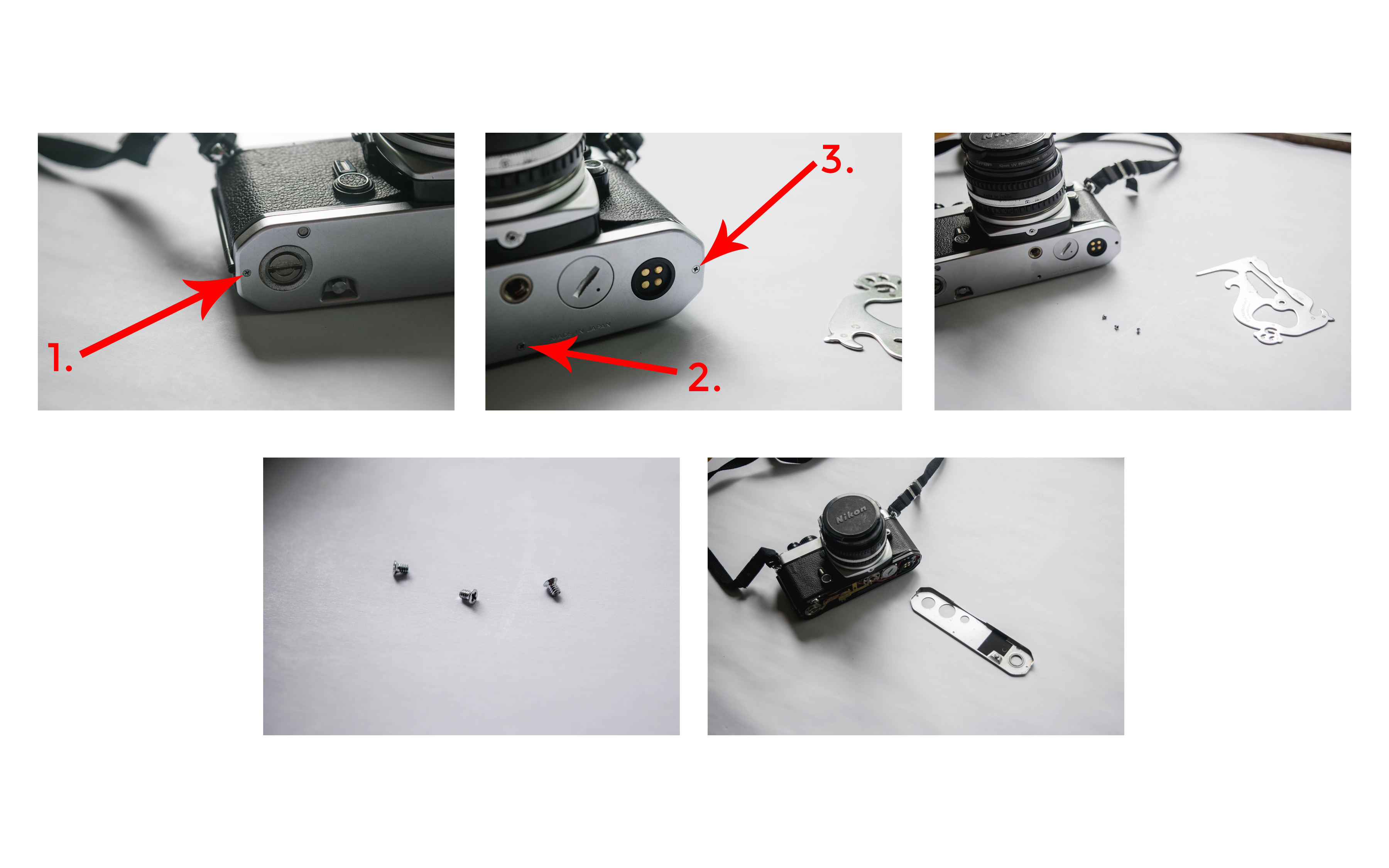 Three Screws - How to Fix a Nikon FE Film Camera with a Jammed Shutter - FilterGrade Blog