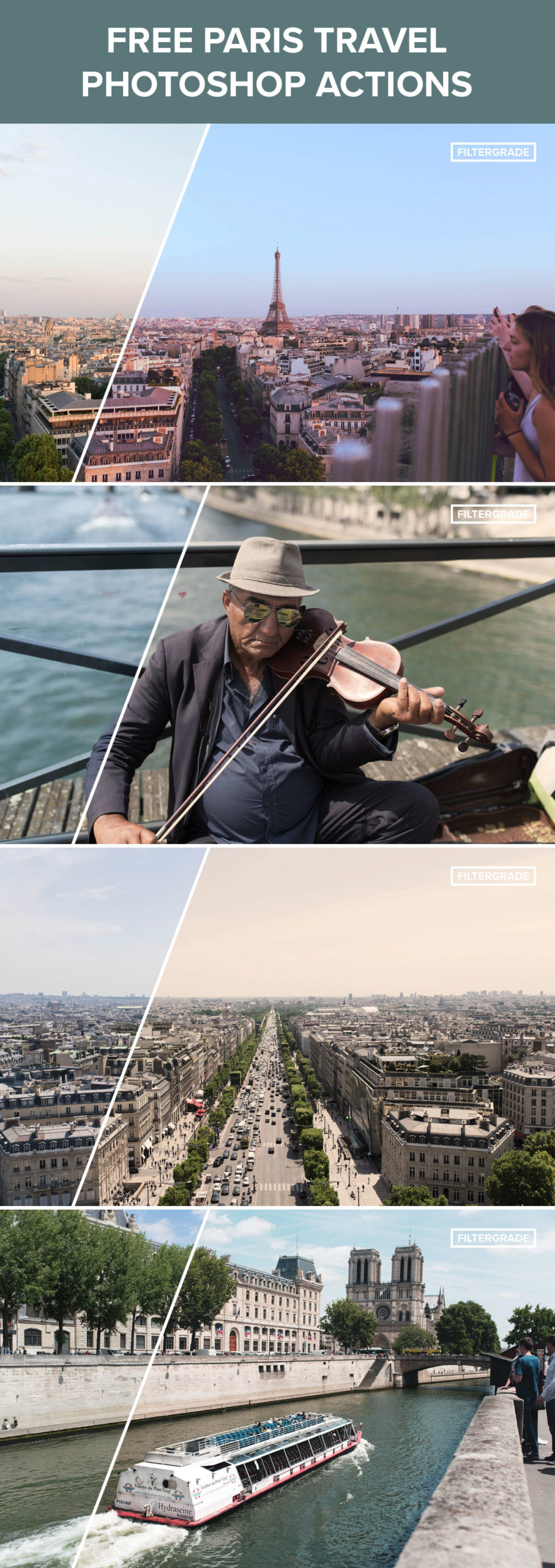 Free Paris Travel Photoshop Actions from FilterGrade