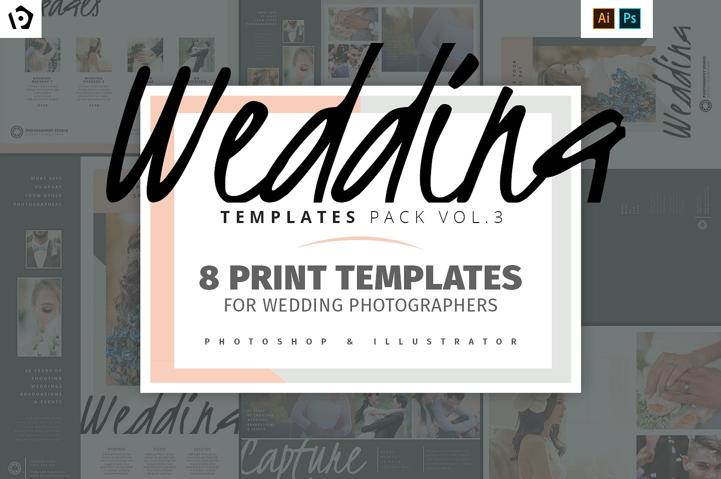 wedding photography templates pack brandpacks
