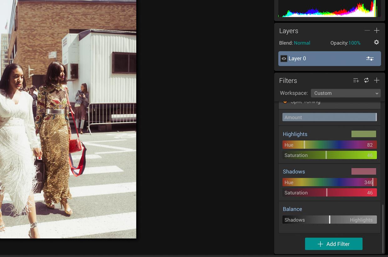 Split toning in Luminar. Pastel look tutorial for photography