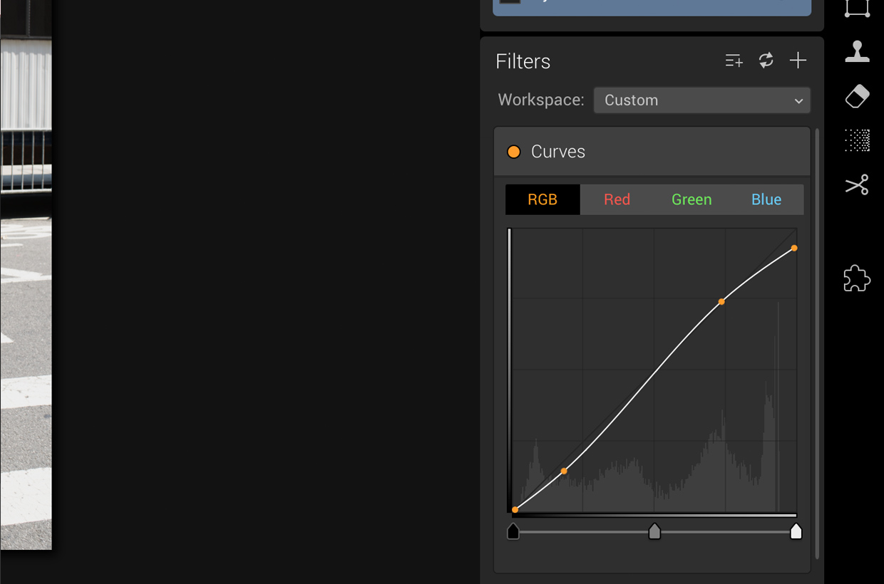 add curves filter in luminar