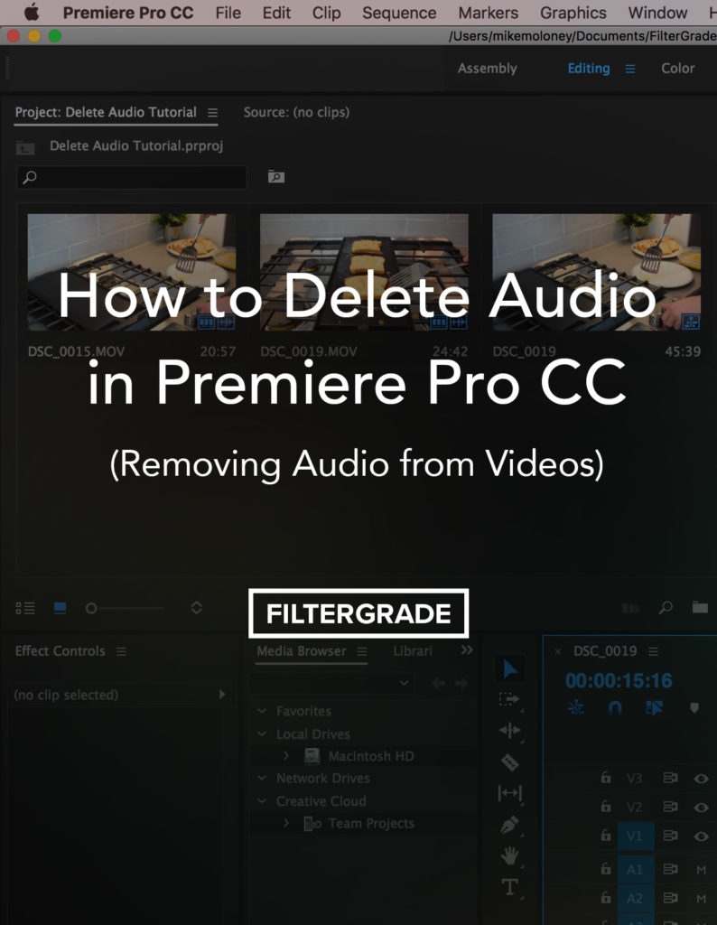 delete audio in premiere pro cc: removing audio from videos