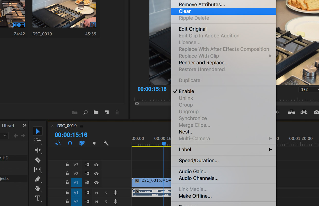 delete audio in Premiere Pro CC from video clips