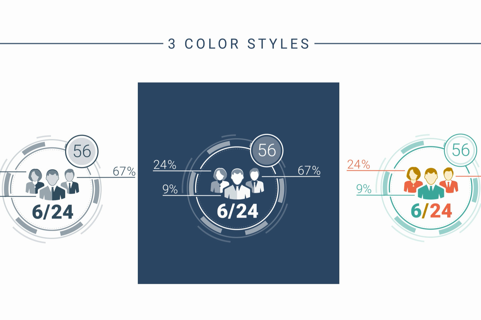 color styles for animated business infographic elements