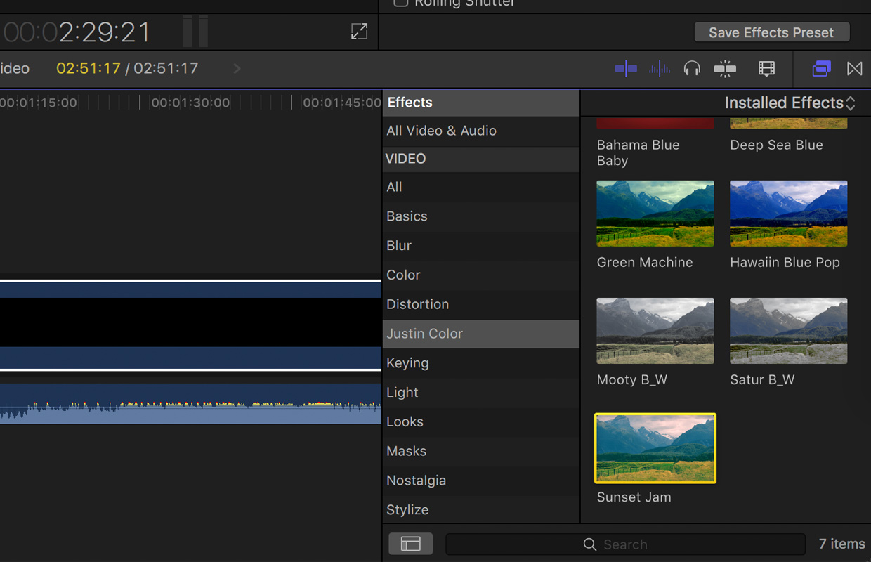 installed final cut pro presets