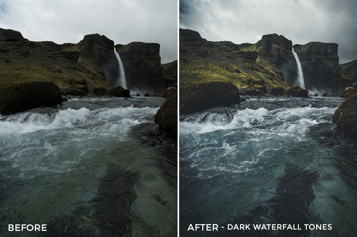 1 Dark Waterfall Tones - Christian Trustrup Lightroom Presets