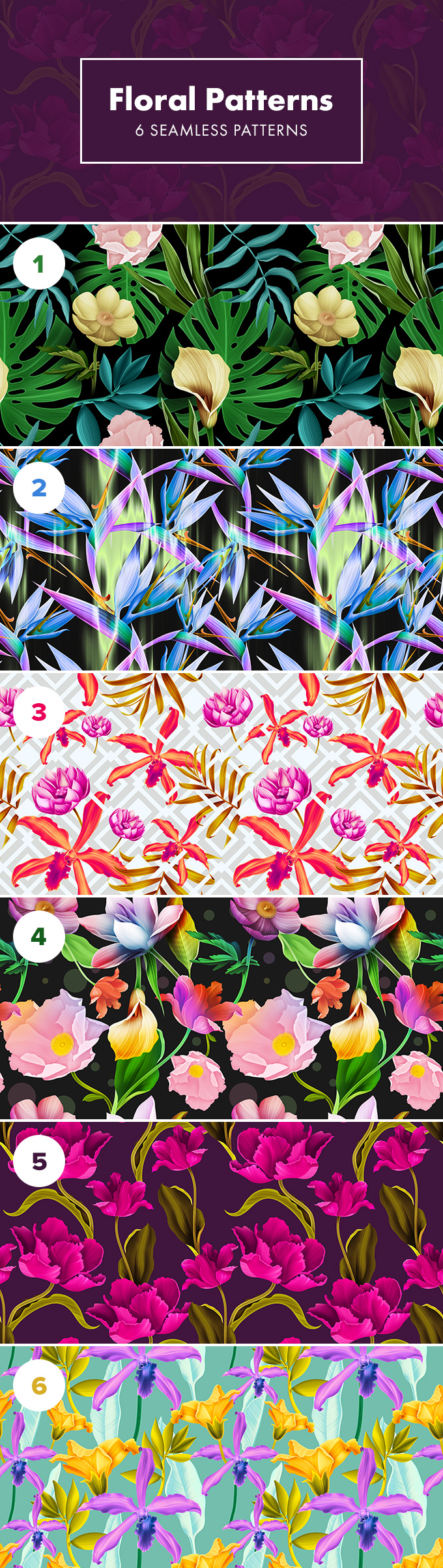seamless floral patterns freebie