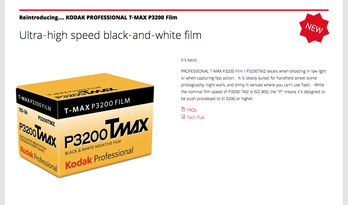 Kodak T-Max P3200 Black and White Film - FilterGrade