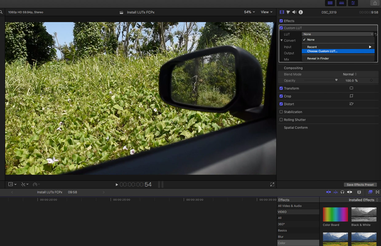 choose custom lut in final cut pro x