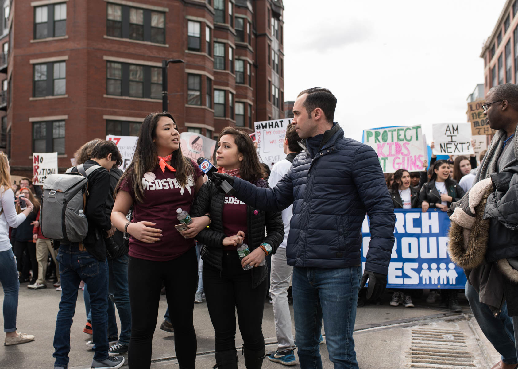 students from marjory stoneman douglas high school at the boston march for our lives