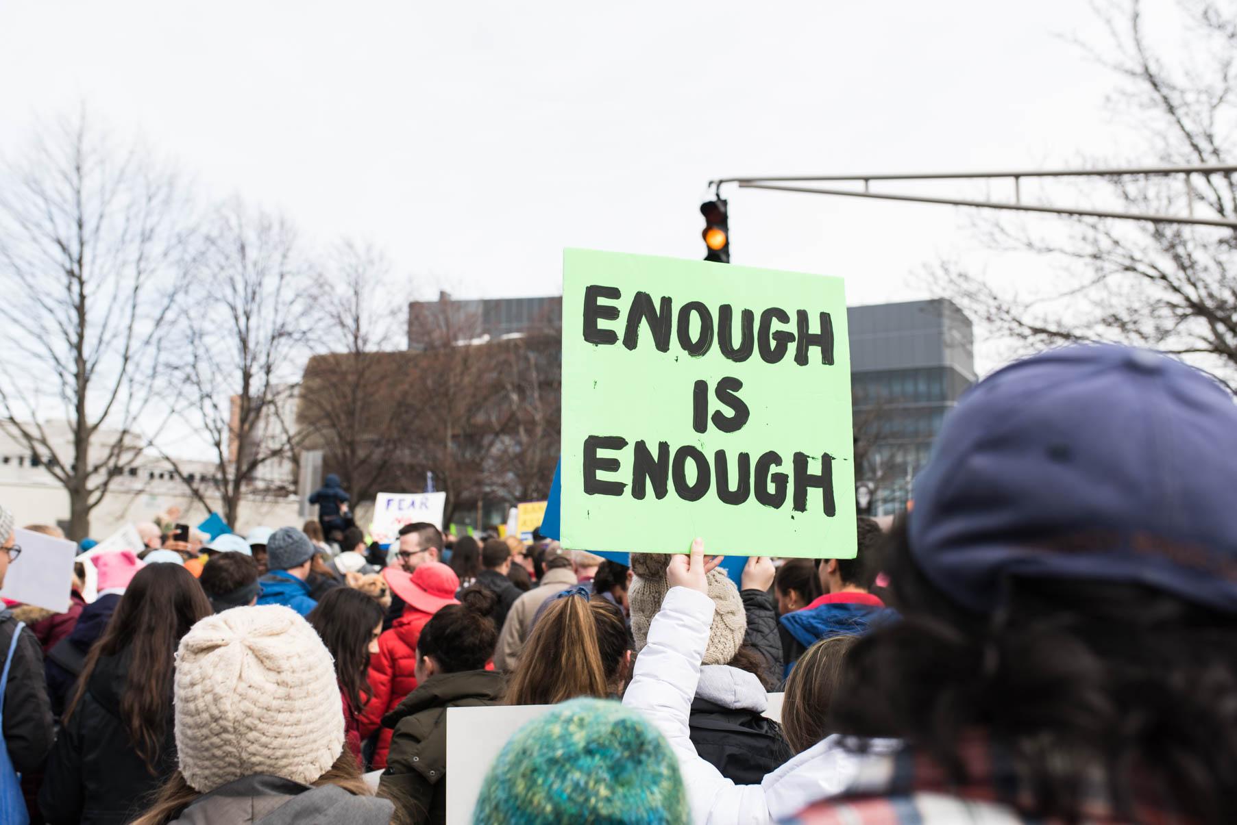 enough is enough protester boston