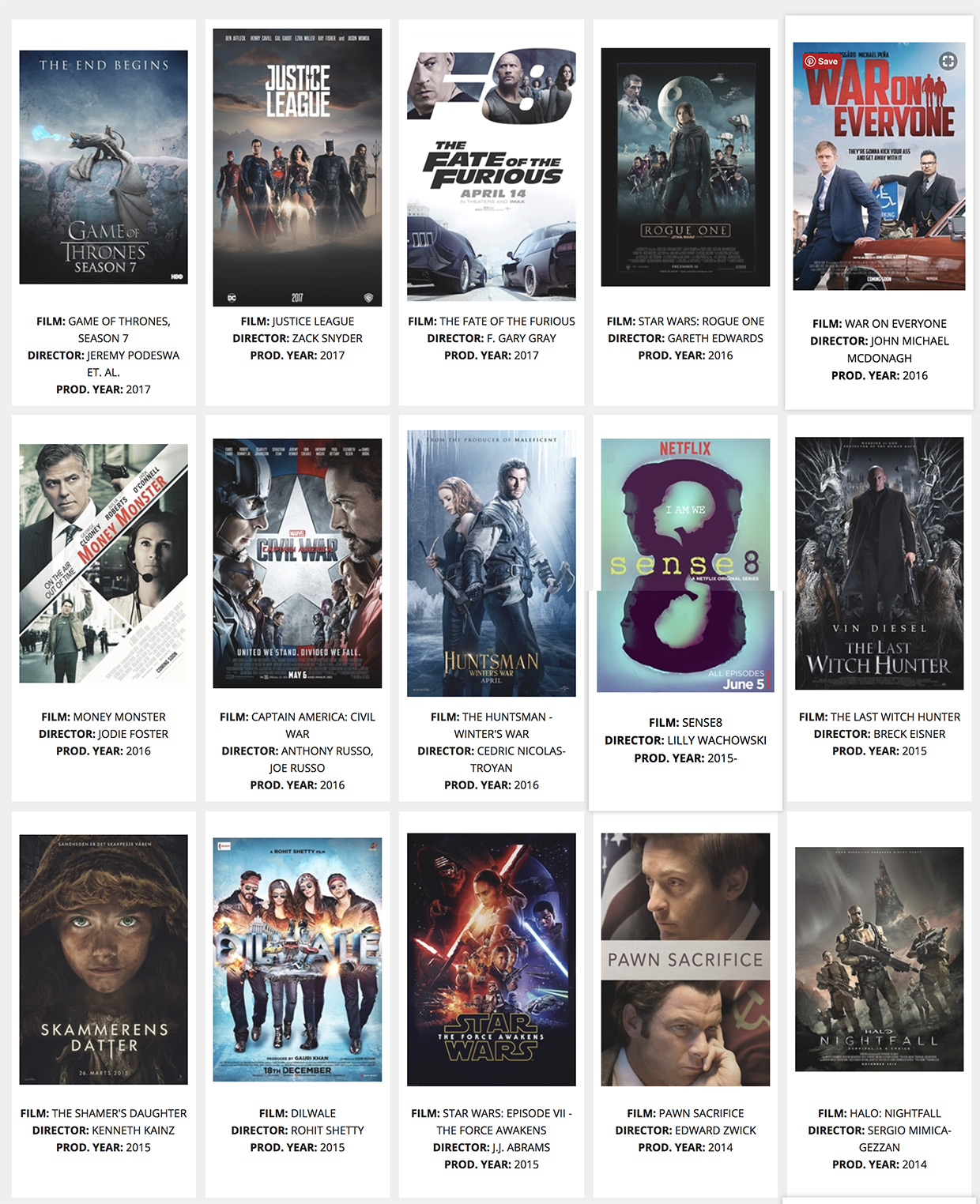 Popular films and television shows produced in Iceland
