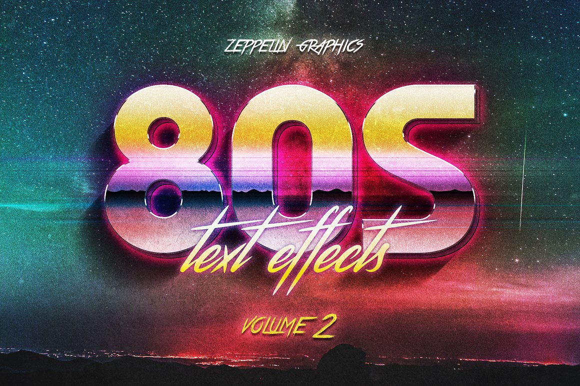 80s text effects for photoshop styles