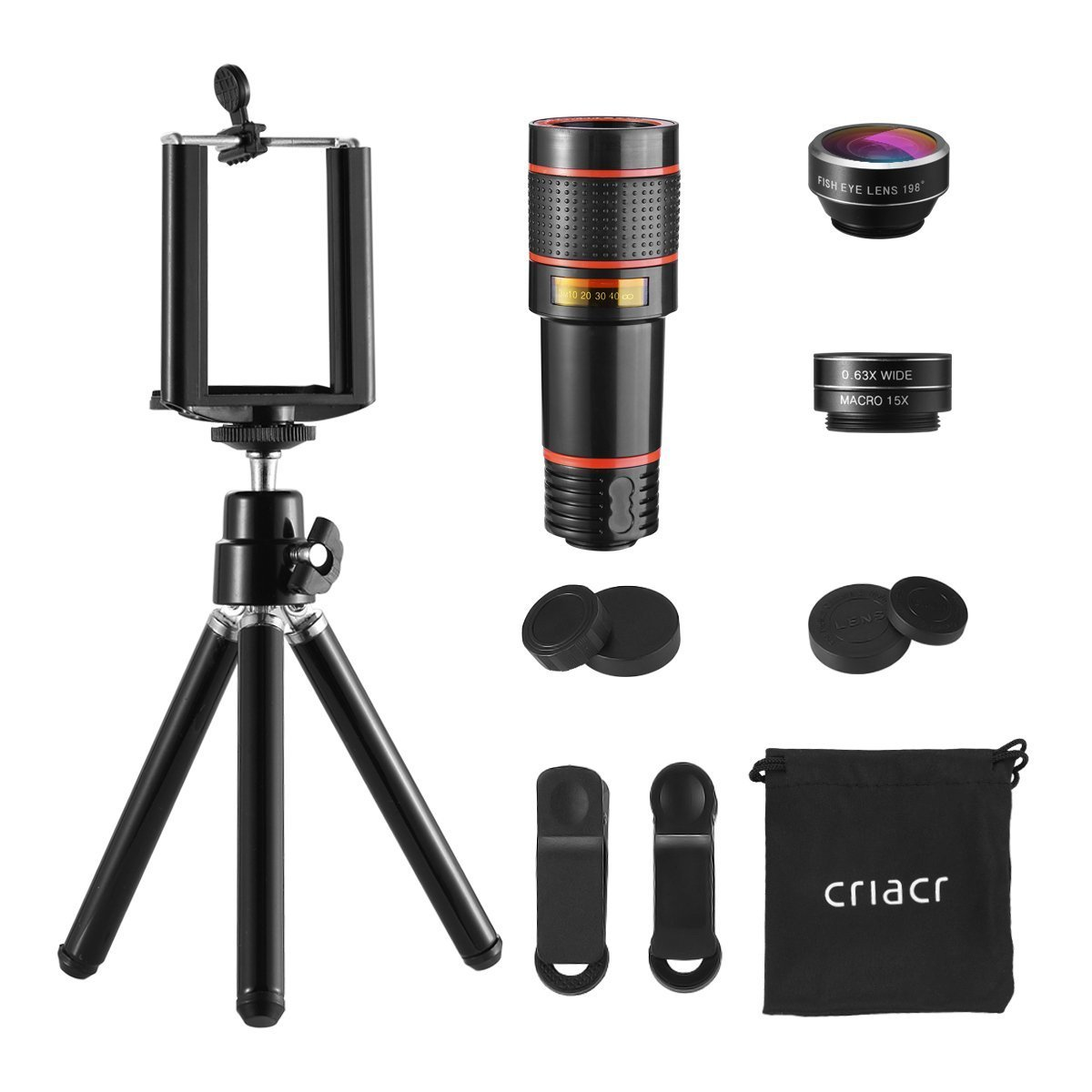 criacr phone lens pack and tripod for mobile device