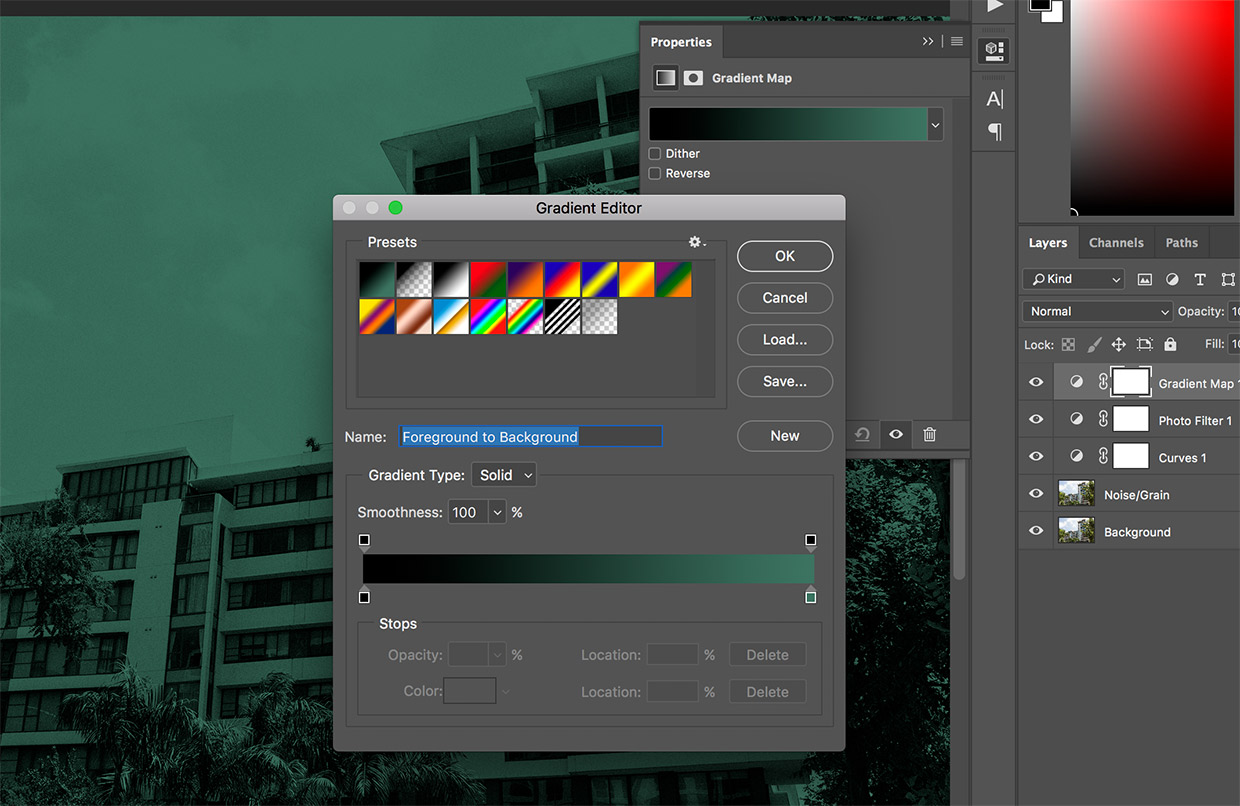 gradient editor photoshop