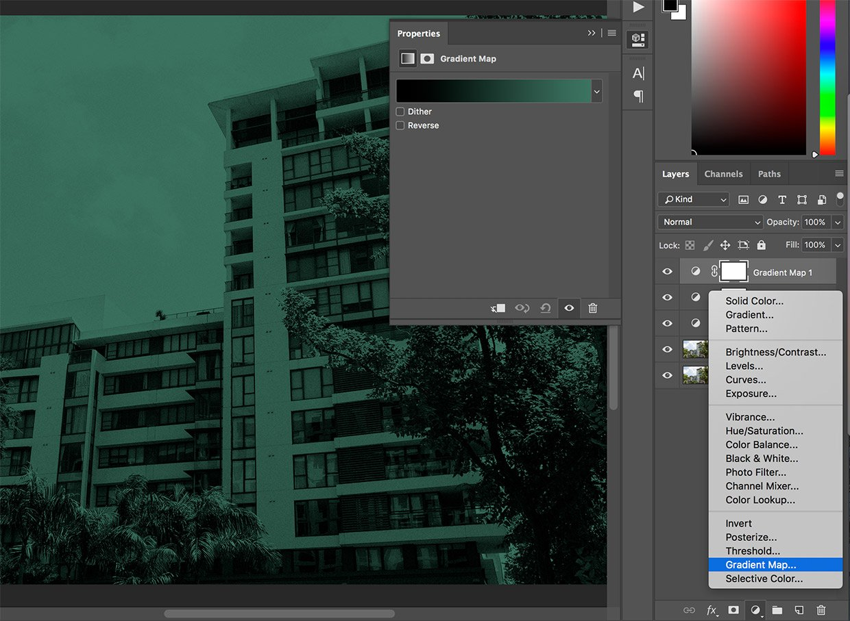 gradient map adjustment layer