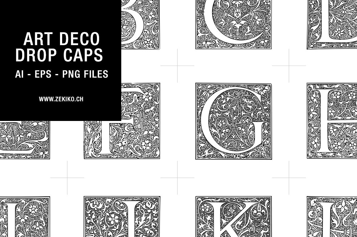 art deco drop caps font