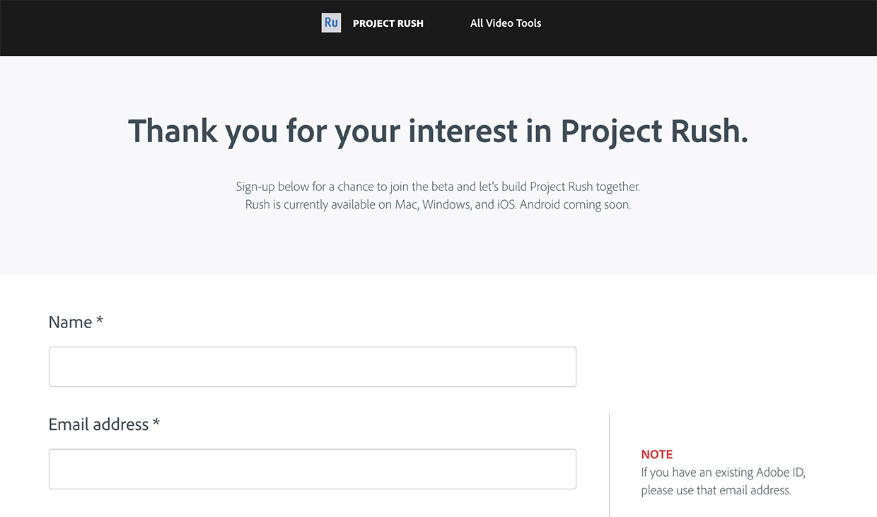 apply for project rush adobe video editing app