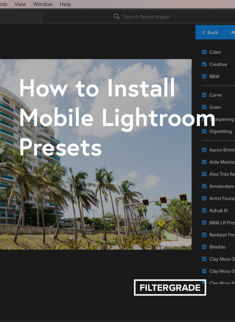 How to Install Mobile Lightroom Presets by syncing from the Lightroom CC desktop app to Lightroom CC Mobile.