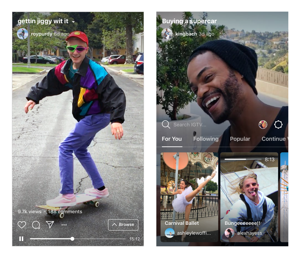 view of inside the igtv video app from Instagram
