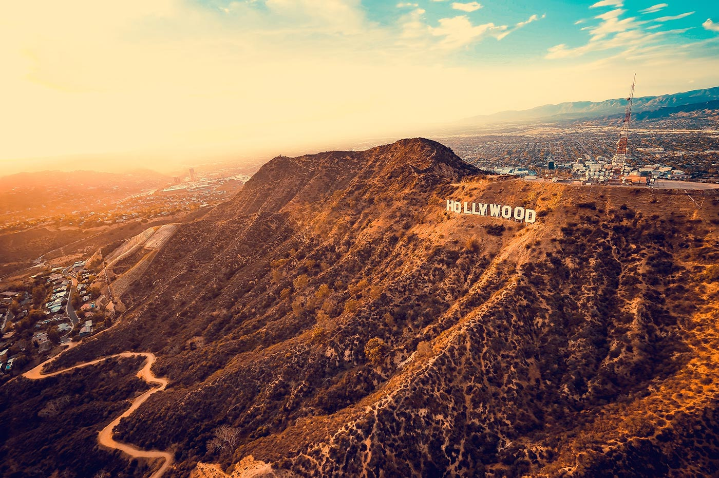 los angeles hollywood sign aerial