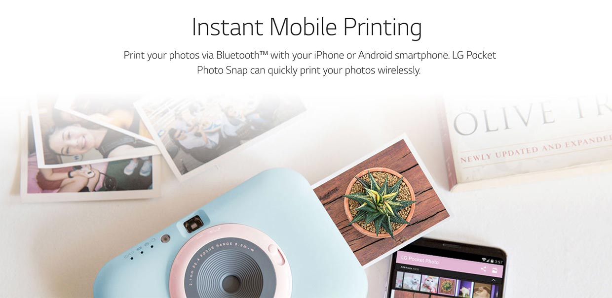 instant mobile printing lg pocket photo snap