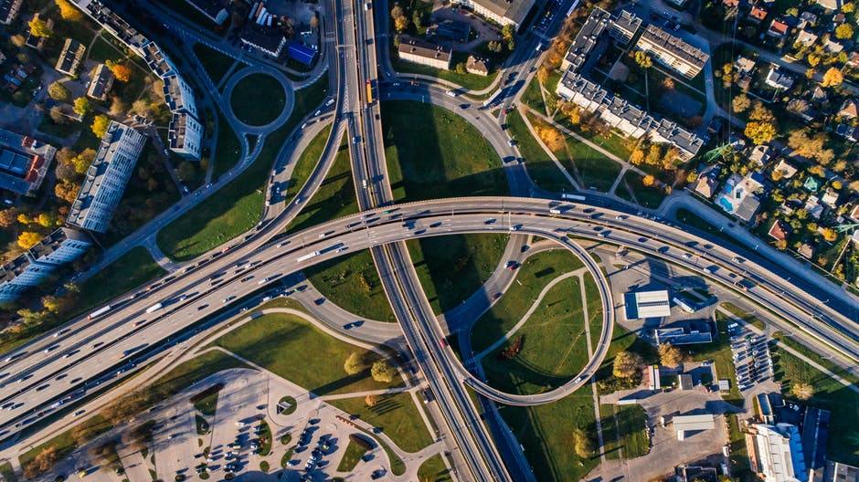 highways from above drone photography