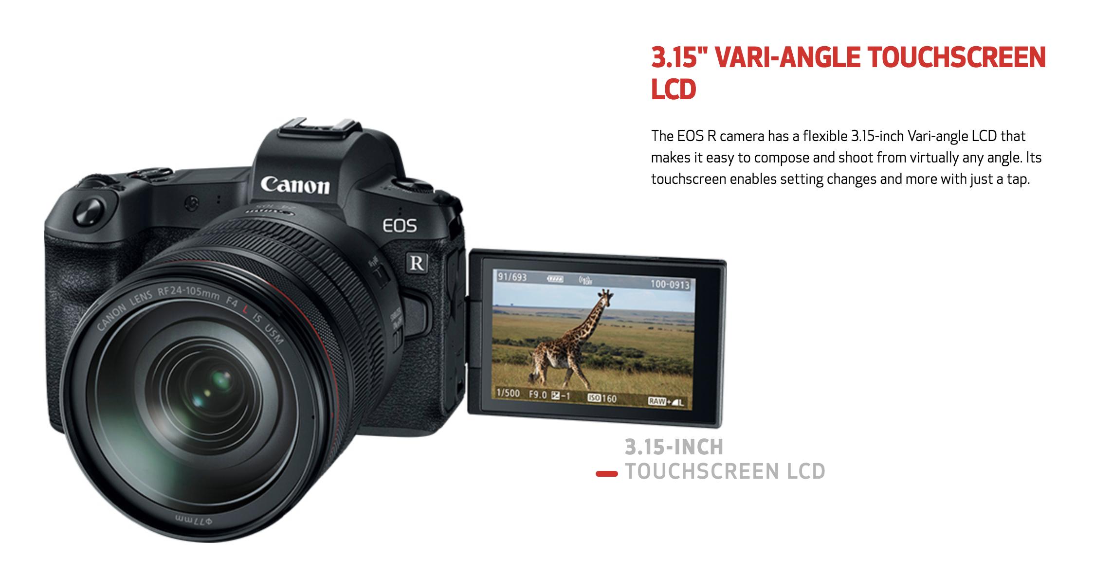 canon eos r touchscreen lcd