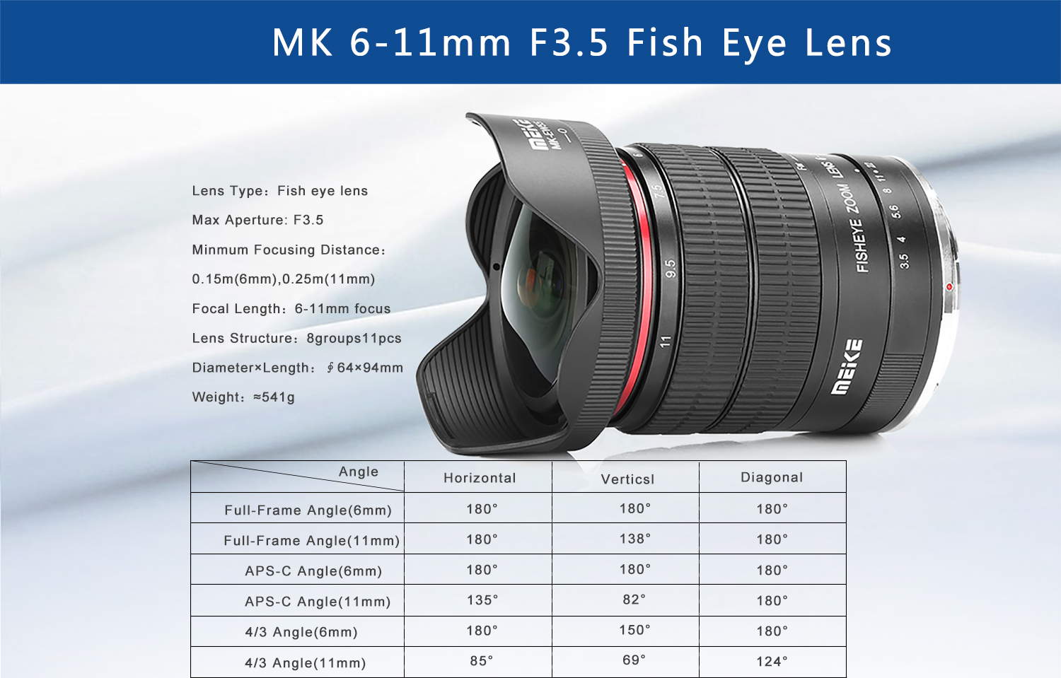 meike 6-11mm fisheye lens specs