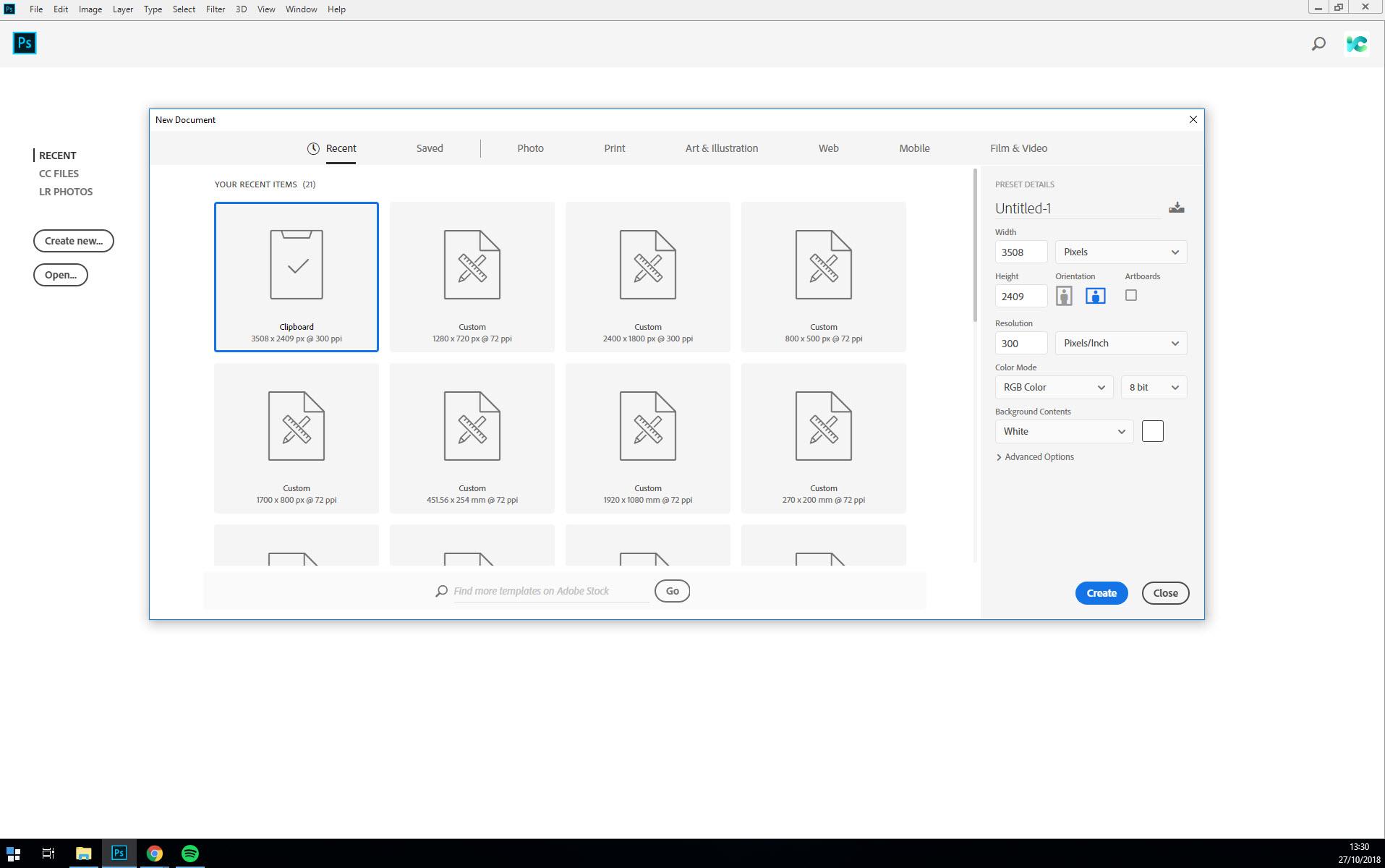 creating new document photoshop