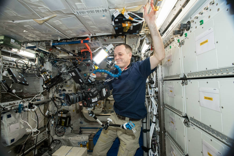 ricky arnold filming 8k video in space ISS