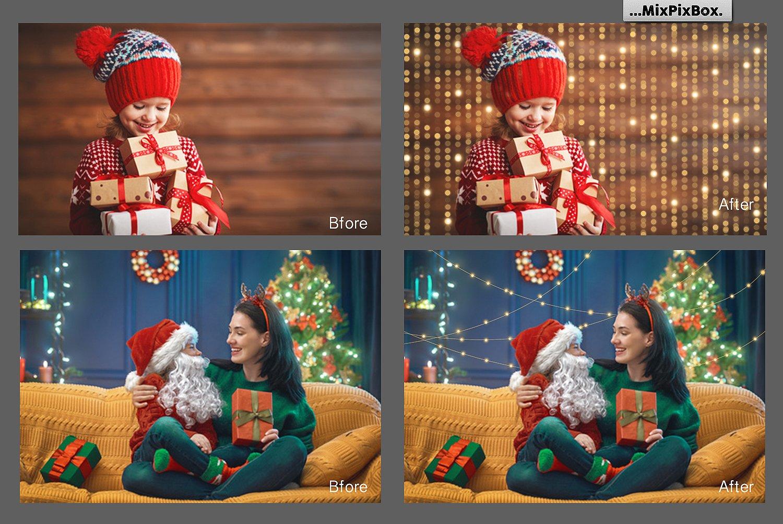 christmas photo lights overlays