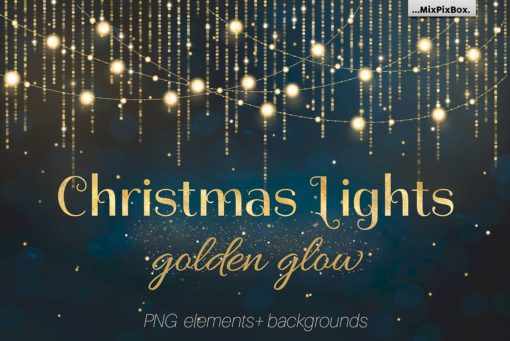 christmas lights golden glow photo overlays