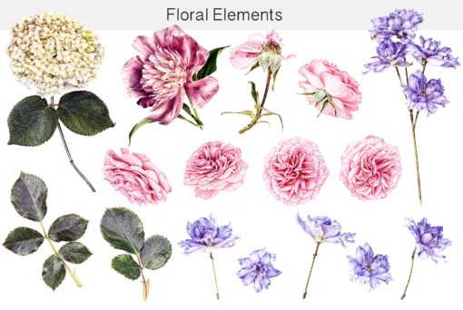 floral elements and overlays