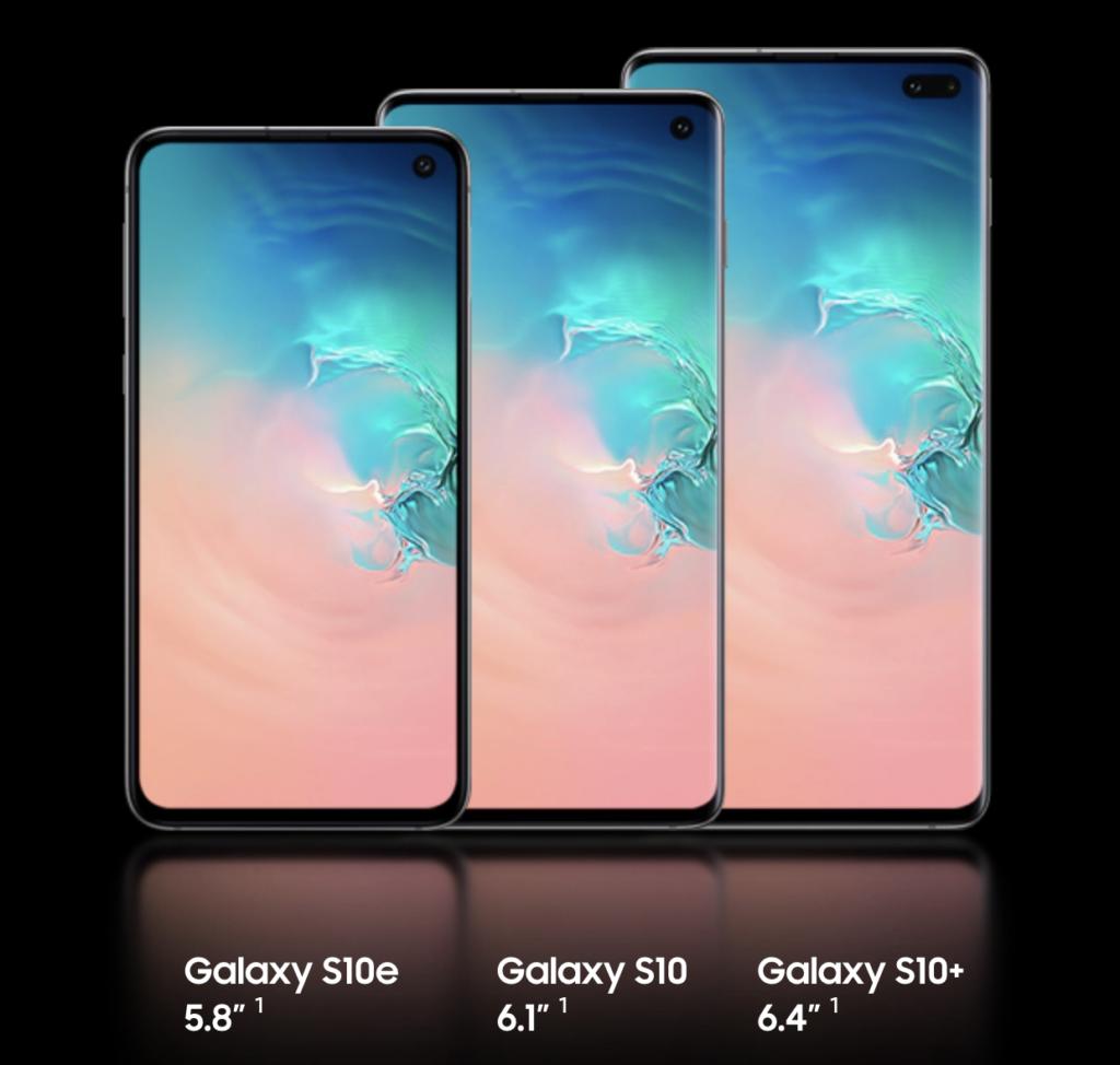 Samsung Galaxy S10, S10e, and S10+