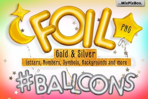 Golden Foil Balloons Alphabet Overlays