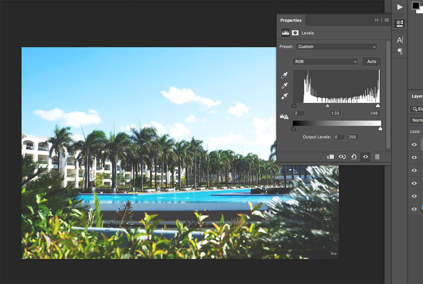 levels adjustment photoshop matte effect