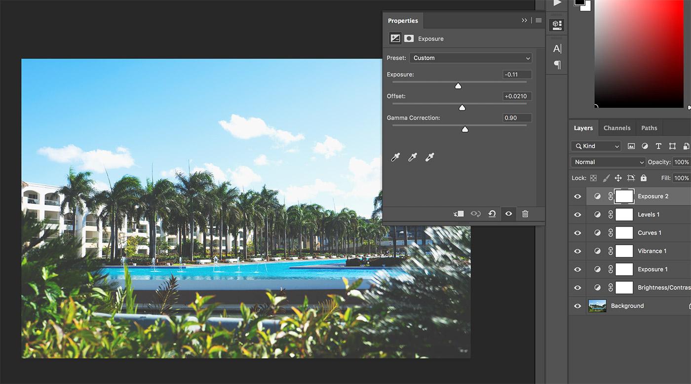 exposure settings photoshop