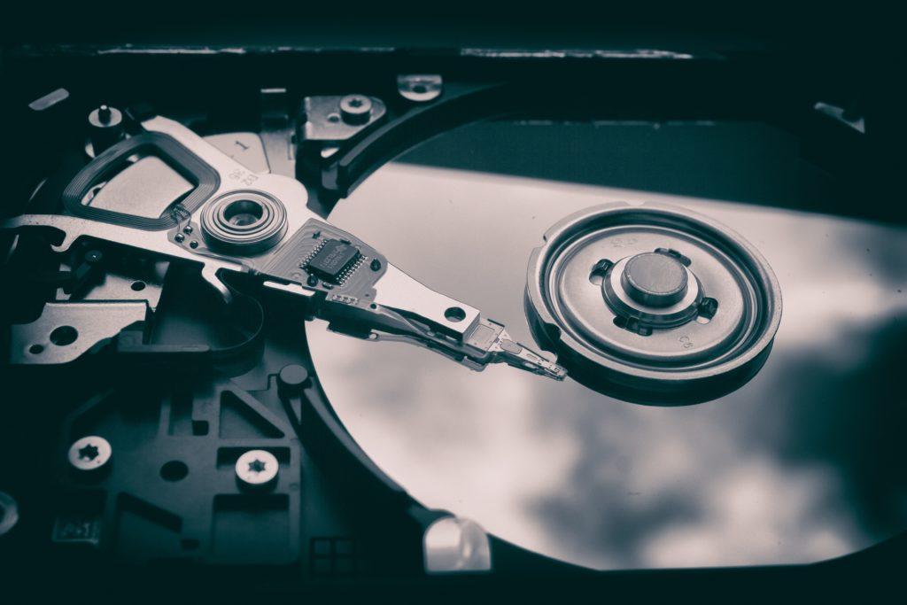 inside of optical hard drive close up