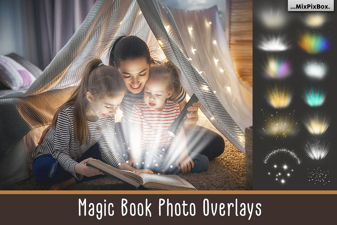 Magic Book Light Photo PNG Overlays